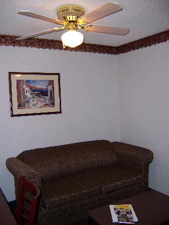 Quality Suites Albuquerque - Gibson Blvd : Living area with couch and ceiling fan 