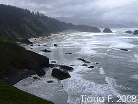 Cannon Beach, OR: Ecola State Park view from parking area - start of trails
