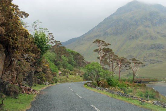 County Mayo, Ireland: road passing Doo Lough