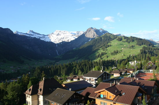 Adelboden, İsviçre: View from Balcony of Room 312