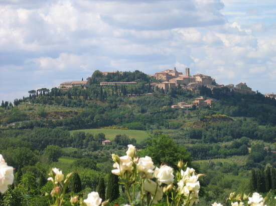 Pienza, Italy: View of Montepulciano from Pulcino's restaurant garden