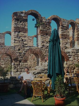 , : Coffee by an ancient ruin!
