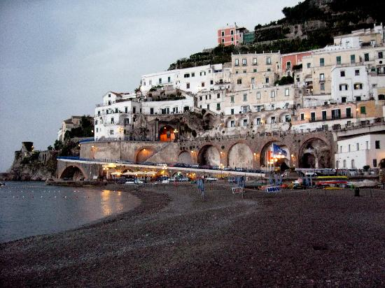 Furore, Italia: Neighboring town Atrani at dusk