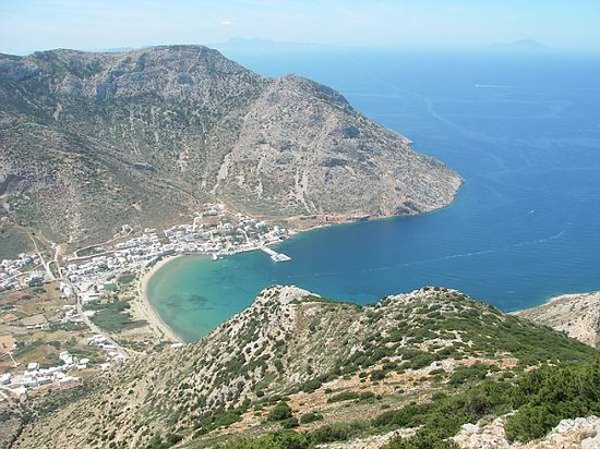 Sifnos, Greece: hotel location in the middle of this bay
