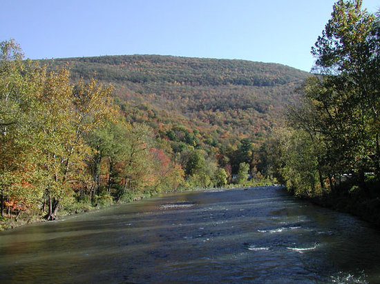 Phoenicia, État de New York : The Esopus Creek runs alongside town.