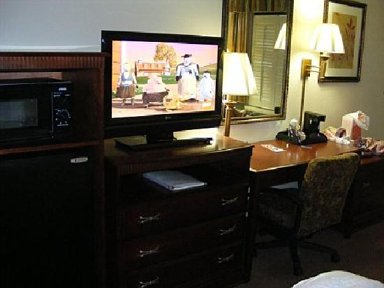 Hampton Inn Dalton: Nice plasma tv and work area, with fridge and microwave