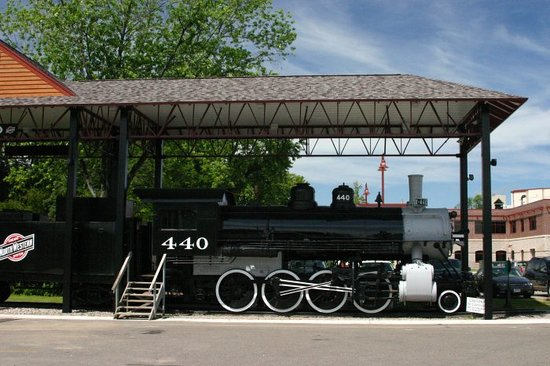 Antigo, WI: Steam locomotive outside the museum