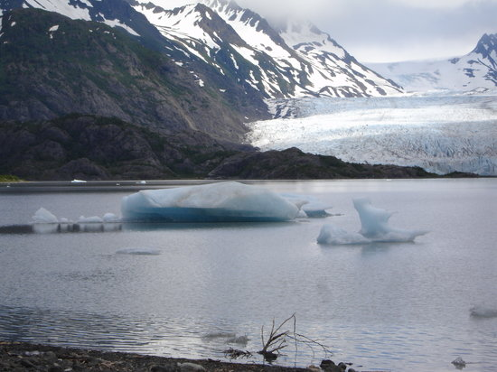 , : the view of Grewingk Glacier over the lake