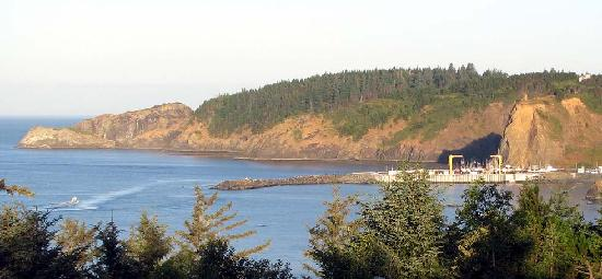 View of Port Orford harbor from motel room.