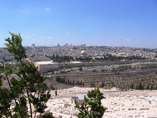 Yerusalem, Israel: Panorama of Jerusalem viewed from the Mount of Olives. Linda &amp; Arta, Gjakov