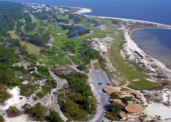 Dauphin Island, AL: the pro shop, Flamingo Faes, event facility and course
