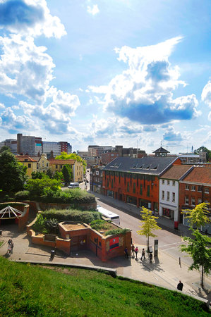 Norwich, UK: A view of St Stephen's Street from the Castle Mound