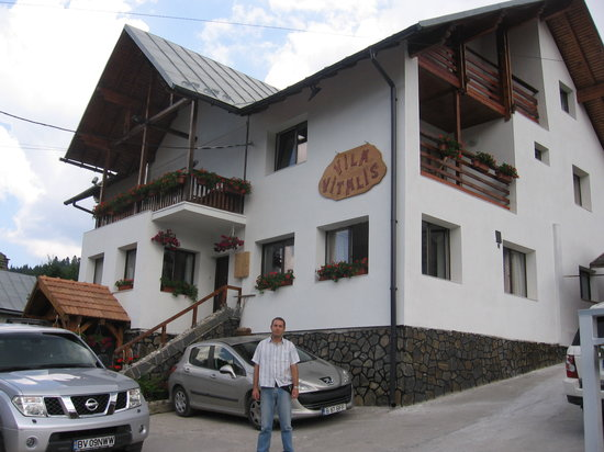 Predeal, Romania: me at the front of the hotel