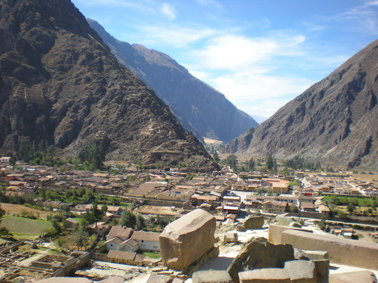 view of Ollantaytambo from the Sun Temple