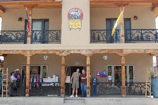 Chama, NM: In front of Dancing Wolf's gift shop with Jim