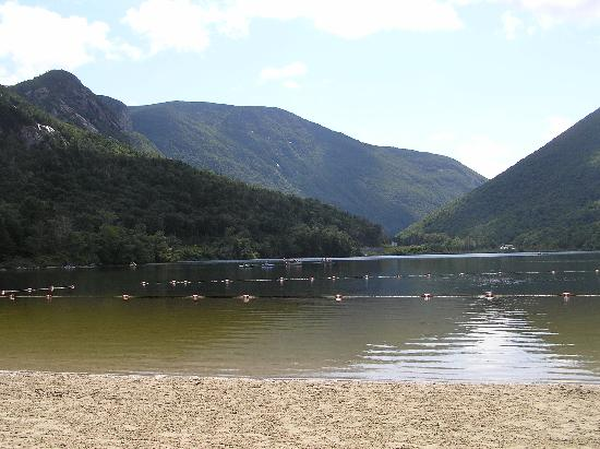 Beech Hill Campground and Cabins: Echo Lake at base of Canon Mountain