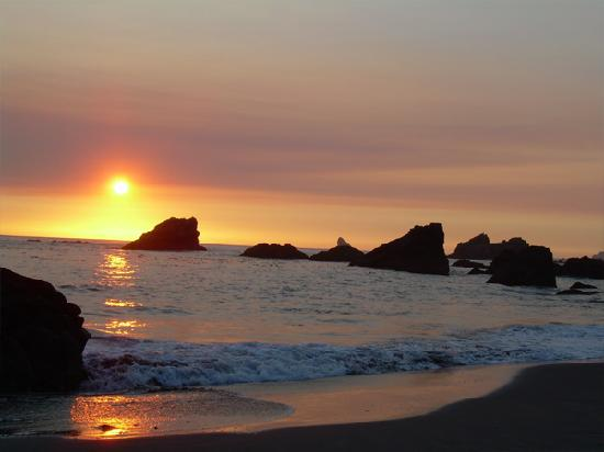 Brookings, OR: rocky beach as the sun sets.. it was beautiful