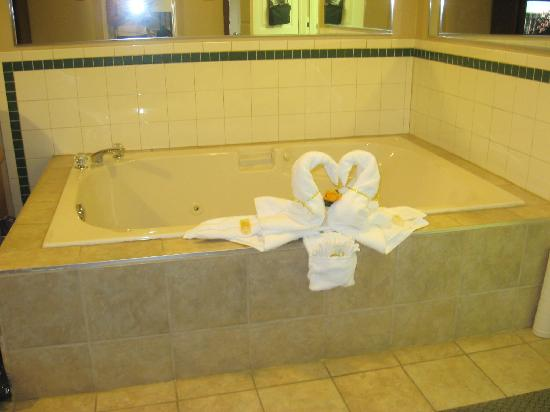 Quality Inn & Suites 1000 Islands: Towel swans on the tub