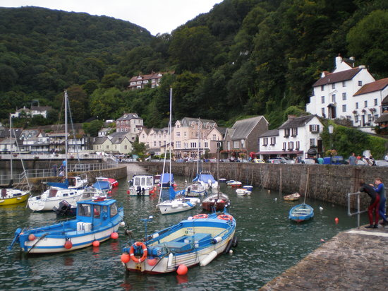 Lynmouth with the tide in - The Bath Hotel is the pink-coloured building in the centre.