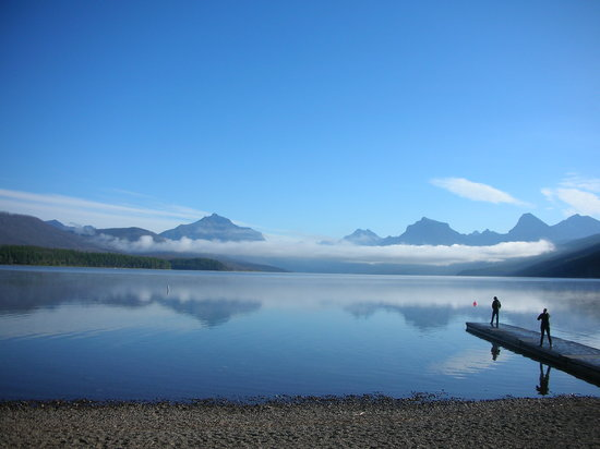 West Glacier, : Lake MacDonald from Village Inn Beach