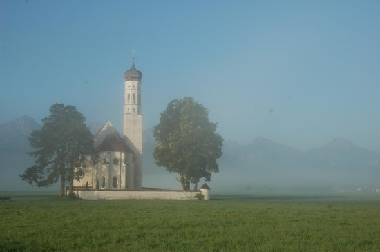 Romantic Road, Germany: foggy church