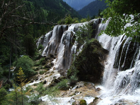 Jiuzhaigou County, China: Waterfall in Jiuzhaigou