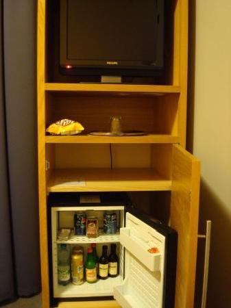 Hotel Trend - single room TV and mini bar.