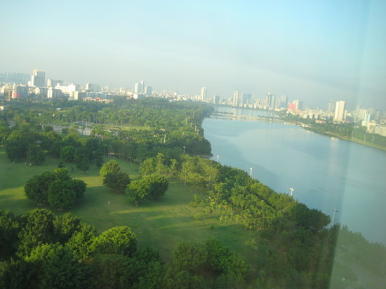 Nanning, China: View from the 14th floor of the city and the nearby park/lake.