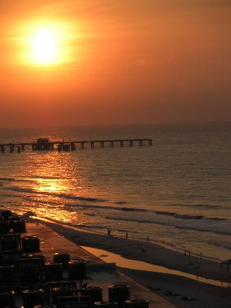 Boardwalk: Sunrise over the Pier from our Balcony
