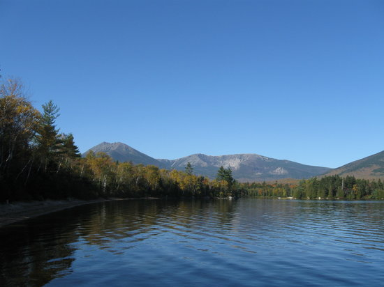 Millinocket, ME: View of Mt. Katahdin from Katahdin Lake Wilderness Camps