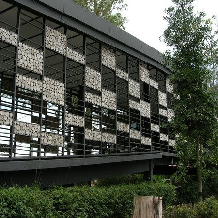 Cameron Highlands, Malaysia: log wall of visitor centre