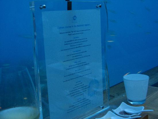 Ithaa menu picture of ithaa undersea restaurant rangali for Ithaa prices