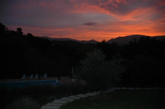 Shambala Country House & Spa: Sunset behind the Sibillini Mountains