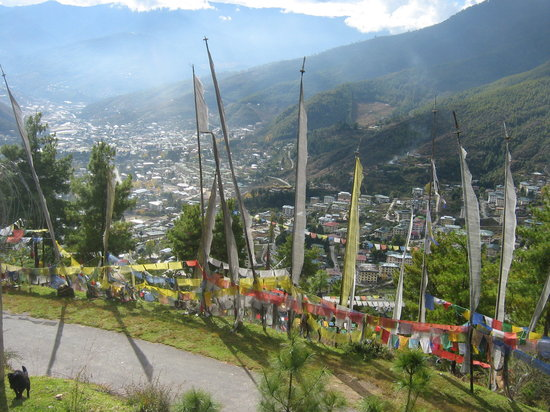 Bhutan: view of thimpu from bbs tower