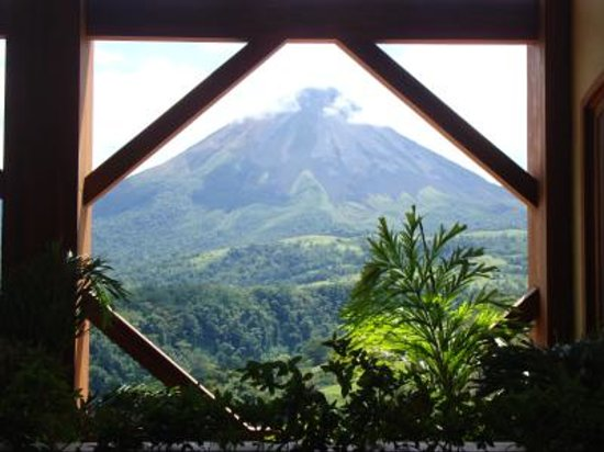 The Springs Resort and Spa at Arenal: View of Arenal Volcano from the resort lobby