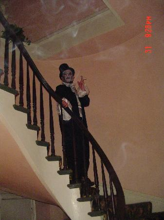 On the stairs at the Olivier House