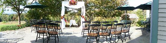 West Chesterfield, NH: Terrace set up for a wedding