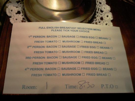 Central Guest House - Menu Full Eng