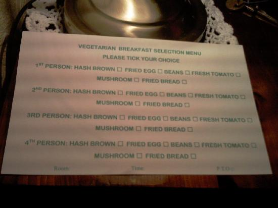 Central Guest House - Menu Veg Option