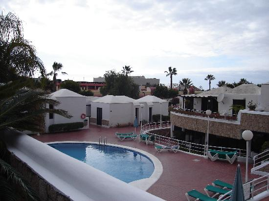 Los Cardones: View from our front door over looking the pool, you can see reception on the right of the pictur
