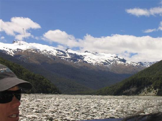 Dart River - Wilderness Jet: Looking at the main Divide, as far up as we go.