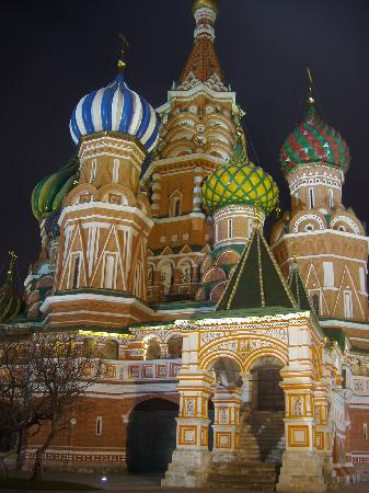 St. Basil's Cathedral (Pokrovsky Sobor): St Basil's at night, Red Square, Moscow