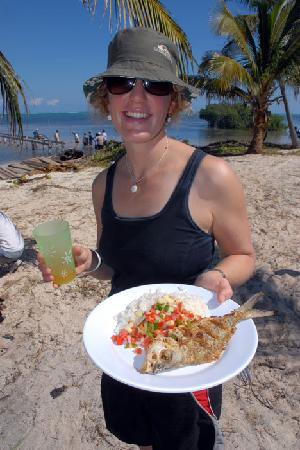 Bacalar Chico National Park and Marine Reserve: Fresh catch for lunch!