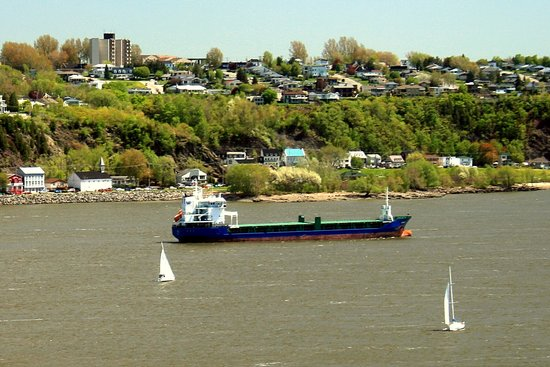 View of Levis with Barge and St. Lawrence River