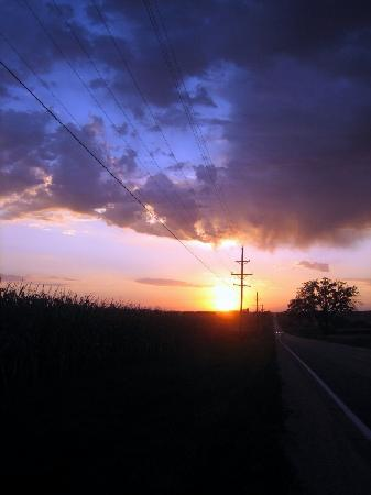 Illinois: Sunset, Highway 20, Jo Daviess County