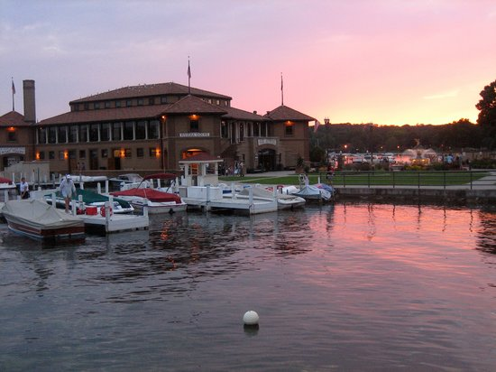 Lake Geneva, WI: Docks at Sunset