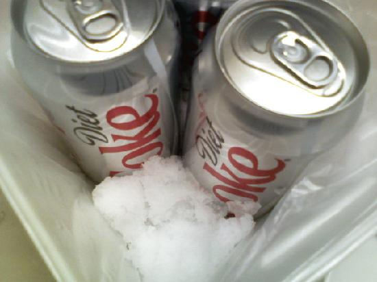 The Chariot Hotel East Louisville: keeping the diet coke cold with snow.