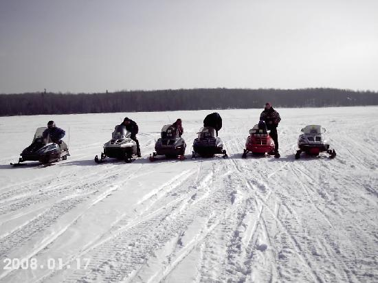 Quinn Motel: all of us out snowmobiling