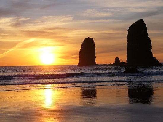 Oregon : Sunset, OR Coast, Arcadia Beach, Just south of Cannon Beach 