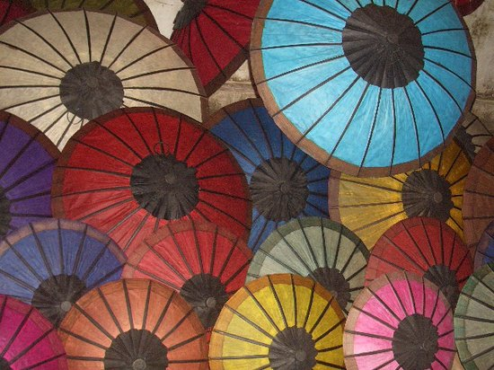 the Luang Prabang night market is full of exotic colorful goods